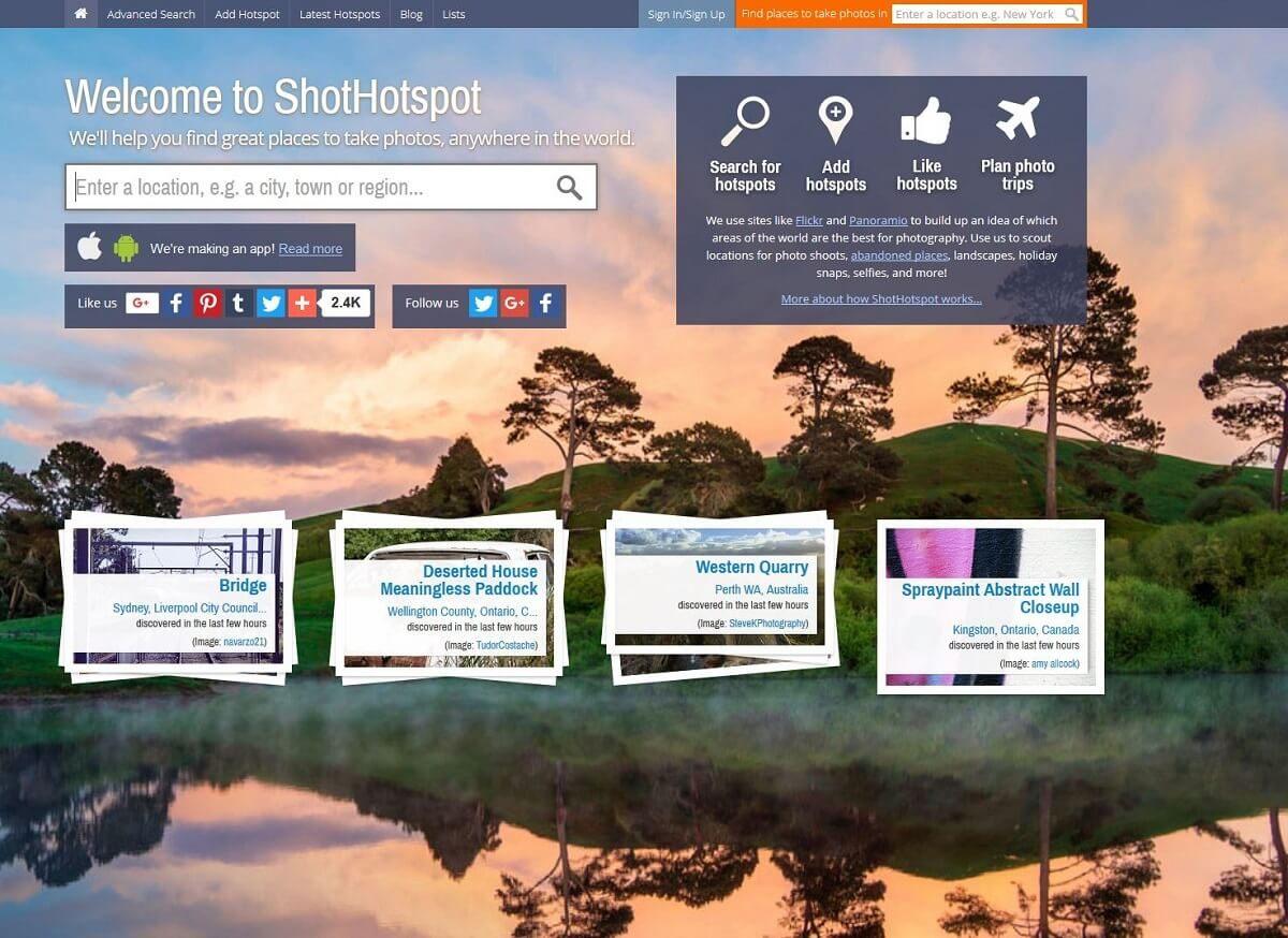 Startseite von ShotHotspot zum finden von Fotolocations