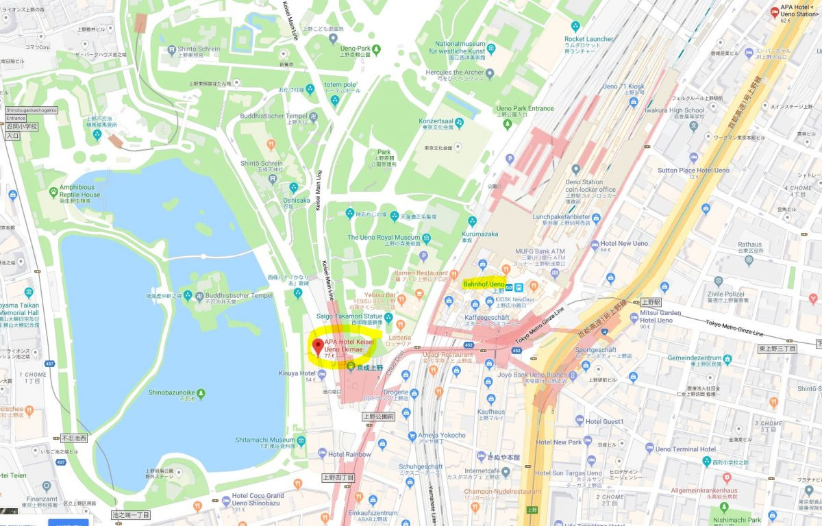 Lage des APA Hotel Keisei Ueno Ekimae