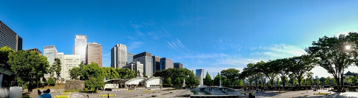 Panorama vom Wadakura Fountain Park, Tokyo Marunouchi, Japan