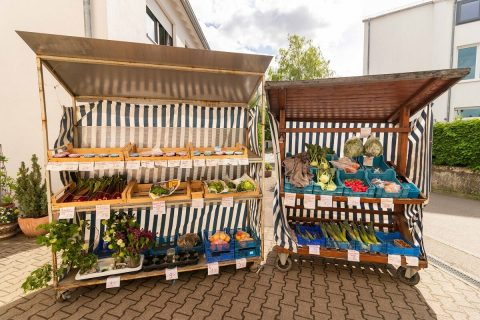 Privater Verkaufsstand mit frischem Gemüse